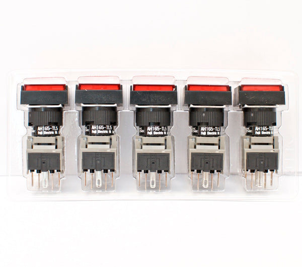 FUJI AH165-TL5R11E3 Red Pushbutton Command Switch 24VDC LED (Pack of 5)
