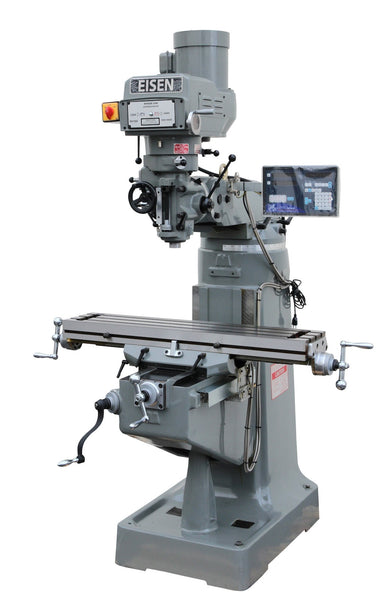 "EISEN S-2A 9""x49"" Milling Machine, 3HP w/ 2-Axis DRO, Free X-axis Powerfeed"