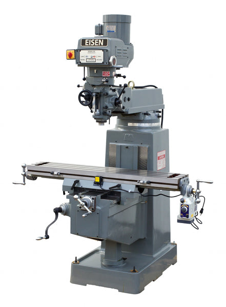 EISEN S-3AII Milling Machine, Boxways, 10x50, 3HP, R8, Free DRO, Free Powerfeed