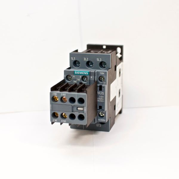 Siemens Contactor 3RT2027-1AG20 110V Coil with Aux Switch Block 3RH2911-1HA11