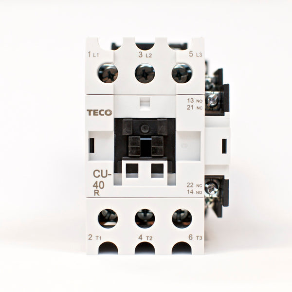 TECO CU-40R magnetic contactor, 60A, 3 phase, 110V coil, 3A1a1b (NO and NC)