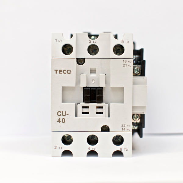 TECO CU-40 magnetic contactor, 60A, 3 phase, 110V coil, 3A1a1b (NO and NC)