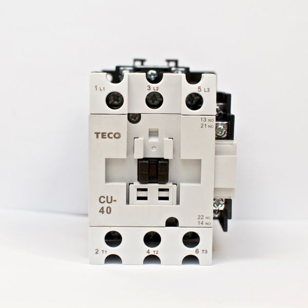 TECO CU-40 magnetic contactor, 60A, 3 phase, 220V coil, 3A1a1b (NO and NC)