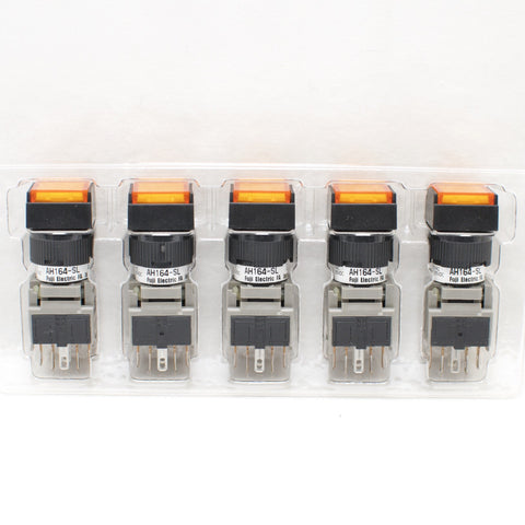 FUJI AH164-SLO11E3 Orange Pushbutton Command Switch 24VDC LED (Pack of 5)