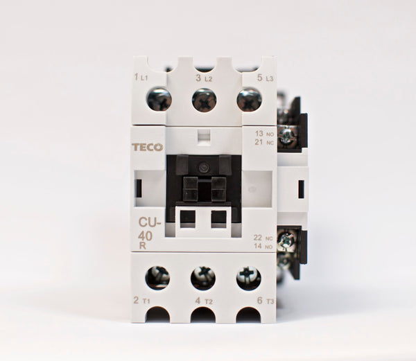 TECO CU-40R magnetic contactor, 60A, 3 phase, 24V coil, 3A1a1b (NO and NC)