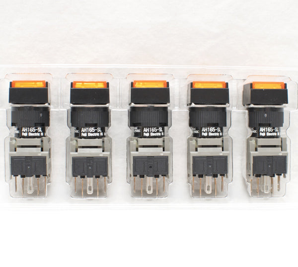 FUJI AH165-SLO11E3 Orange Pushbutton Command Switch 24VDC LED (Pack of 5)