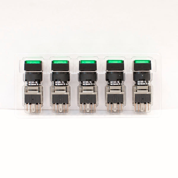 FUJI AH165-SLG11E3 Green Pushbutton Command Switch 24VDC LED (Pack of 5)