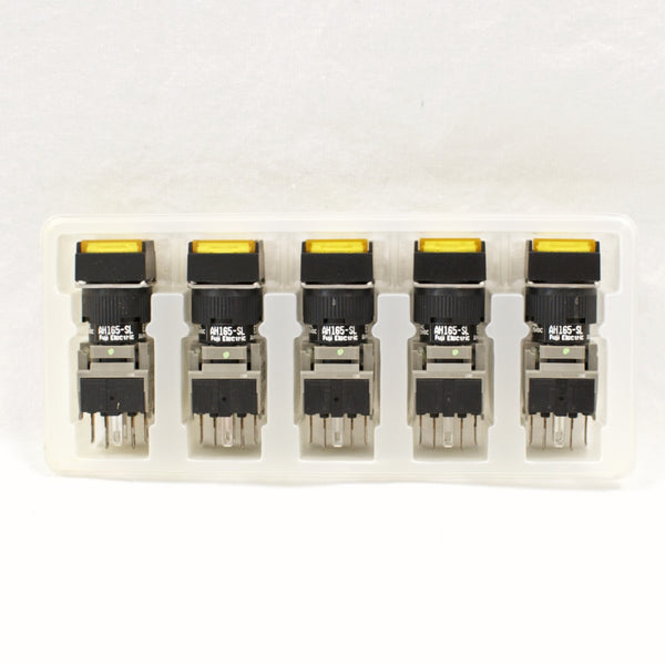 FUJI AH165-SLY11E3 Yellow Pushbutton Command Switch 24VDC LED (Pack of 5)