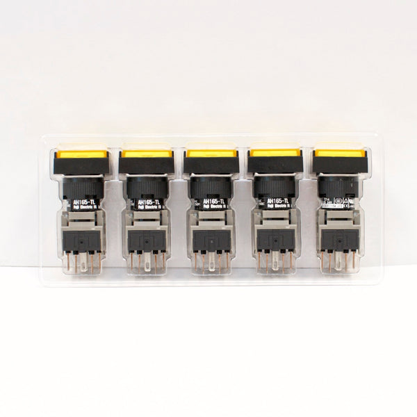 FUJI AH165-TL5Y11E3 Yellow Pushbutton Command Switch 24VDC LED (Pack of 5)