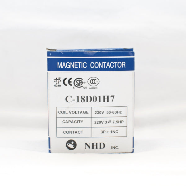 NHD C-18D01H7 magnetic contactor for 7.5HP motor, 230V coil, normally closed