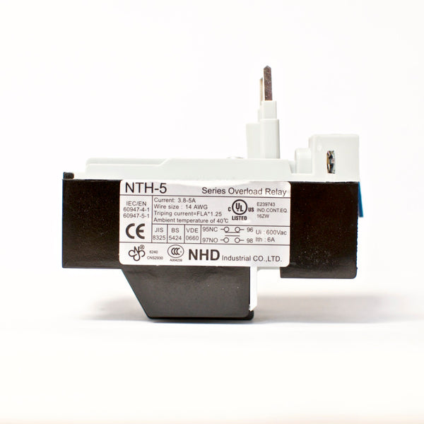 NHD thermal overload relay NTH-5 2PE, 3.8 ~ 5 amp