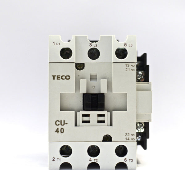 TECO CU-40 magnetic contactor, 60A, 3 phase, 24V coil, 3A1a1b (NO and NC)