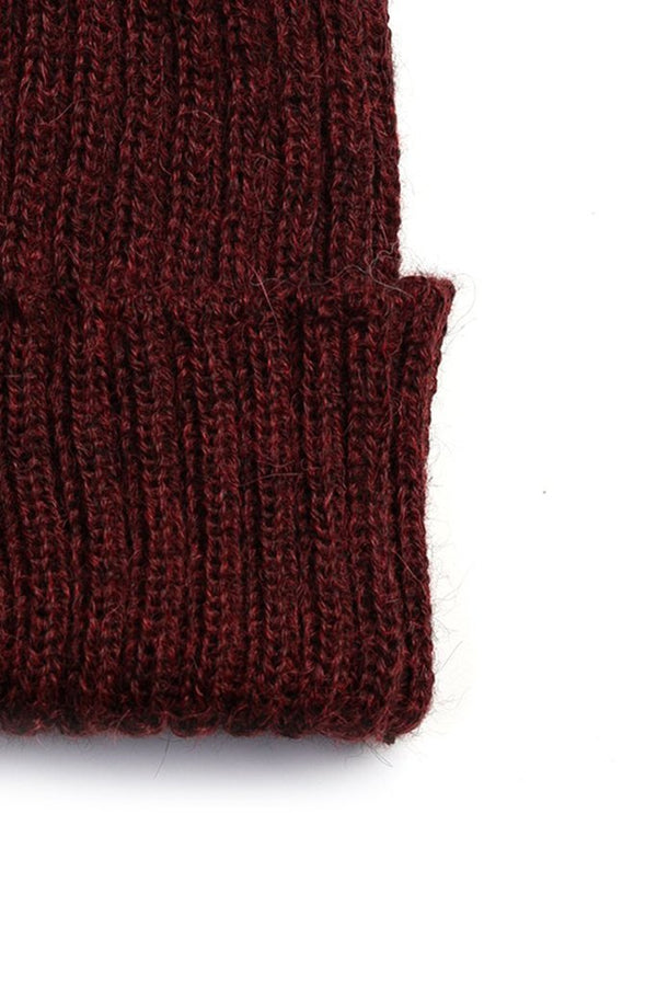 Alpaca Wool Ribbed Beanie Burgundy