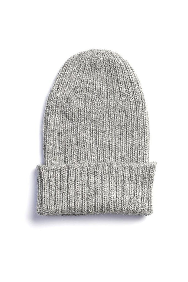 Alpaca Wool Ribbed Beanie Grey