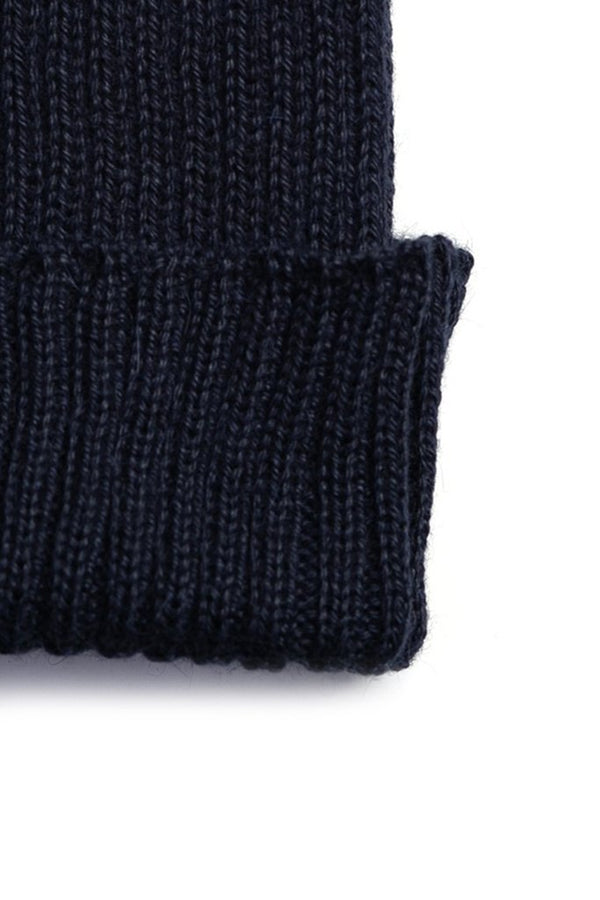 Alpaca Wool Ribbed Beanie Navy