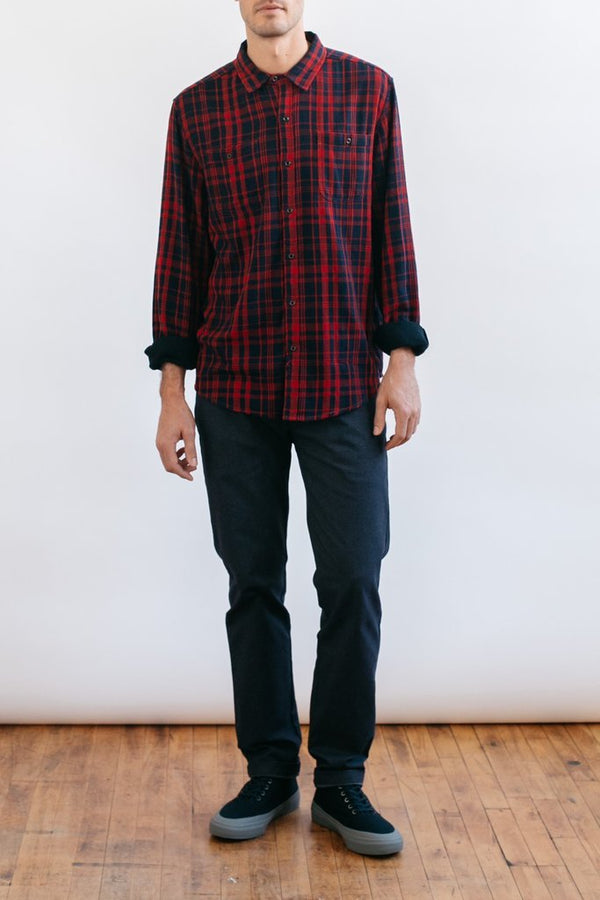 Winslow Red-Navy Double Cloth Plaid