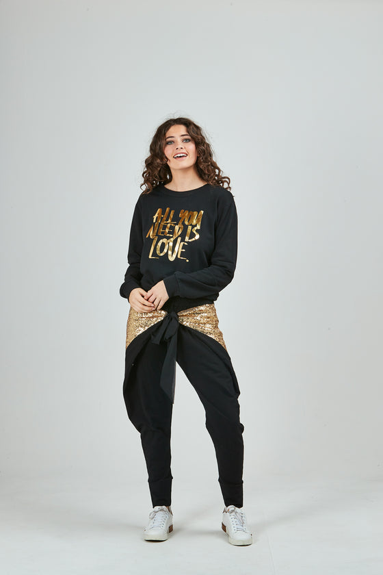 Pretty Basic - Virtue Pants - Gold Sequin Panel