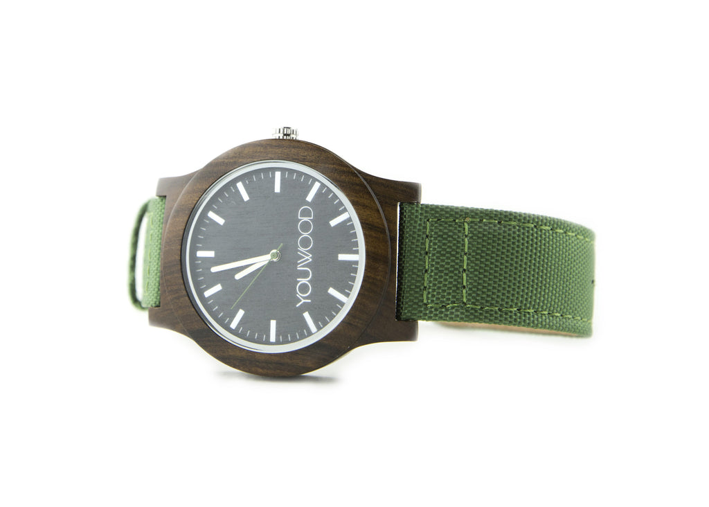 The Watch - Black Sandalwood & Green Band
