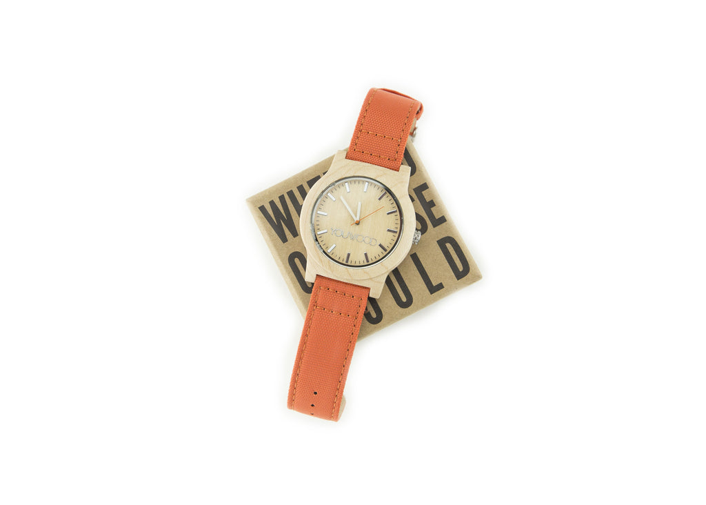 The Watch - Maple & Orange Band