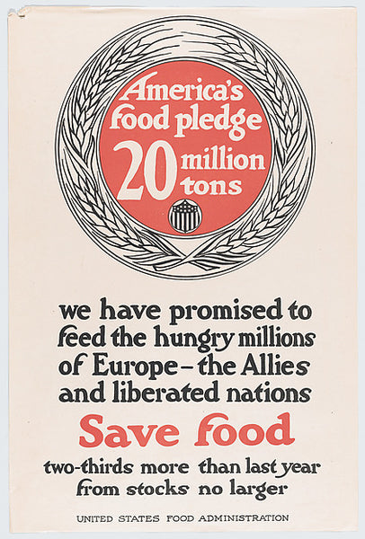 America's Food Pledge Poster, United States Food Administration