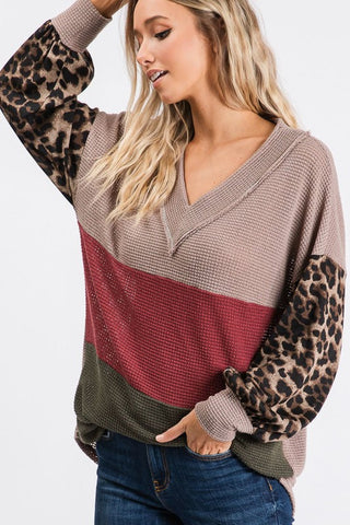Spice Colorblock Leopard Top