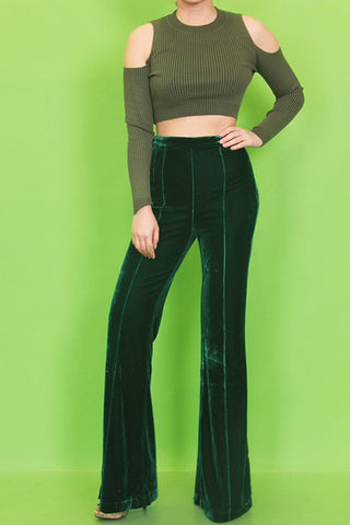 Bartow Velvet Flare Pants in Emerald