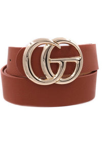 Double Ring Gold Buckle Belt in Brown