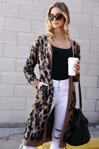 City Chic Animal Print Long Sweater Cardigan