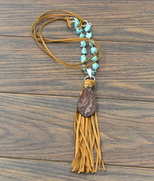 Cuero Leather Fringe Tassel Necklace
