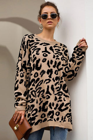 Leo Animal Print Tunic Sweater