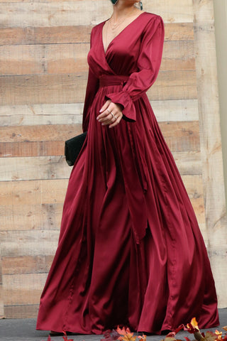 Winter Wander Burgundy Maxi Dress
