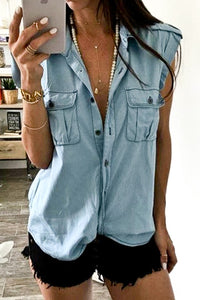 Chambray Button Down Top