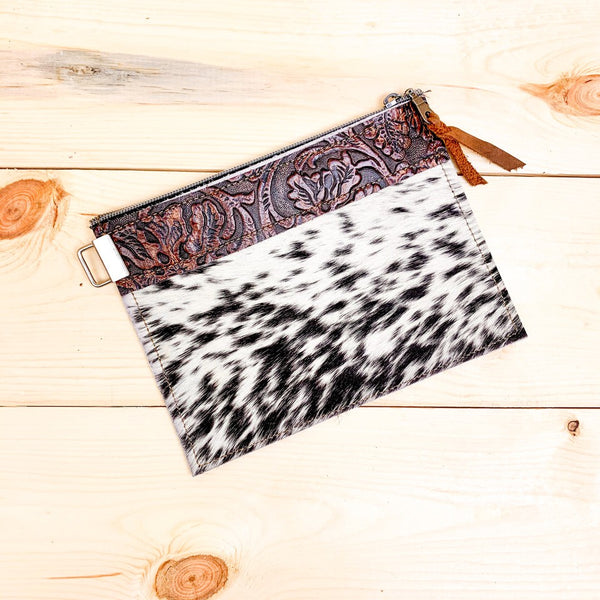 Trixie Animal Print & Leather Clutch
