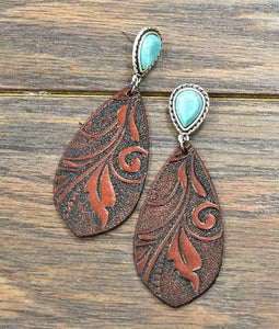 McClintock Leather Turquoise Earrings