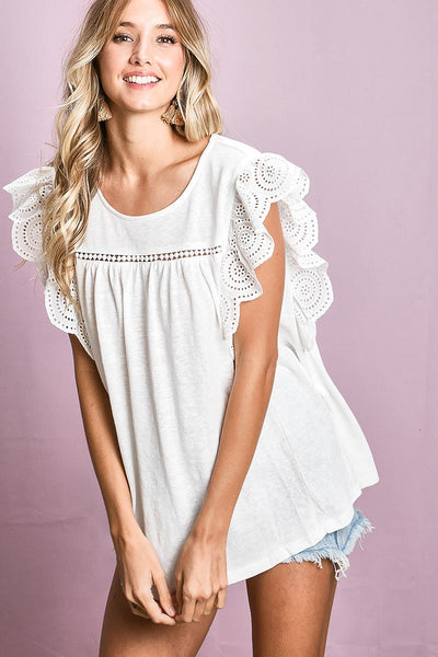 Ruffle Me Up Top in Ivory