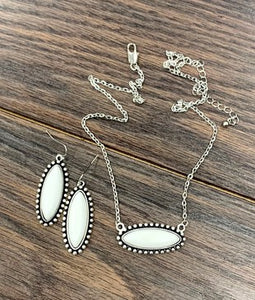 Dove White Stone Necklace & Earrings