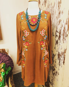 Trousdale Embroidered Dress in Gold