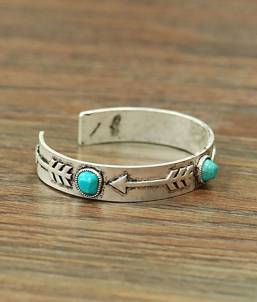 Arrow Cuff with Turquoise Stones