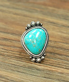 Single Stone Turquoise Ring (Adjustable)
