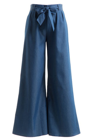 LaBelle Wide Leg Flares with Adjustable Bow Tie