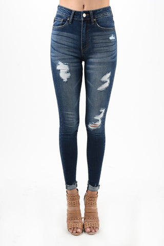 KanCan Distressed Ankle Jean (High Rise)