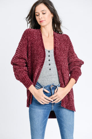 Chenille Sweater Cardigan in Burgundy