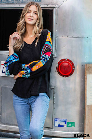 Buckin' Bandana Sleeve Top in Black