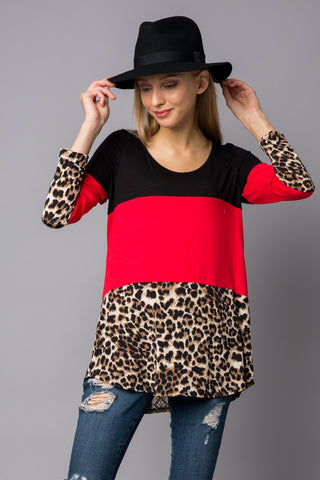 Get Rhythm Leopard Colorblock Top