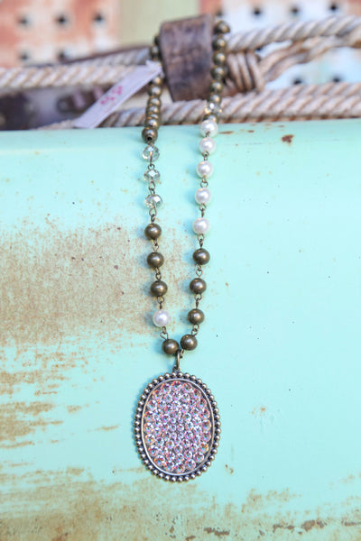 AB Pendant Oval Necklace (AB Crystals) ~ Pink Panache