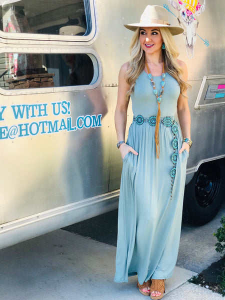 Into the Mystic Sage Maxi Dress