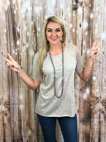 Distressed Hole-y Taupe Top