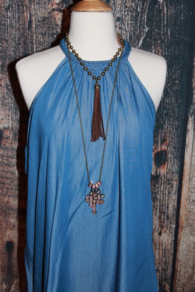 Chocolate Leather Tassel Necklace ~ Pink Panache