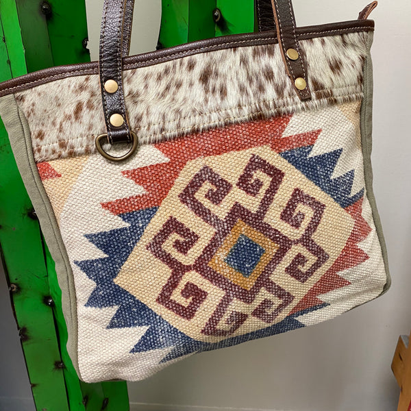 Warren Denim Wine Aztec Print and Hair on Hide Tote Bag