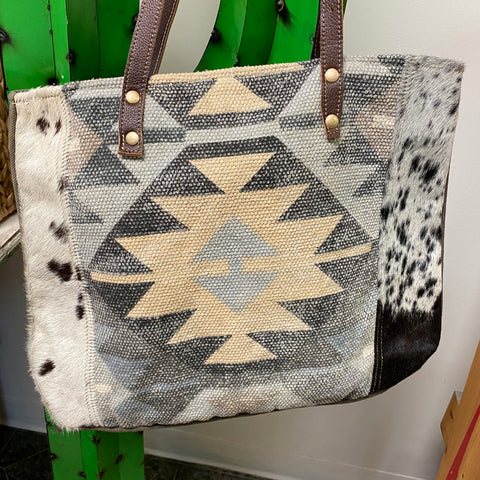 Cowley Grey Aztec Print and Hair on Hide Tote Bag